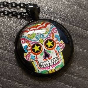 SUGAR SKULL NECKLACE - Cabochon Jewelry